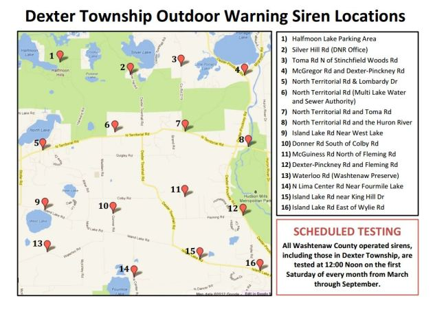 Dexter Township insert of siren locations.